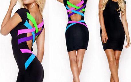 Černé mini šaty s barevnými pruhy na zádech!