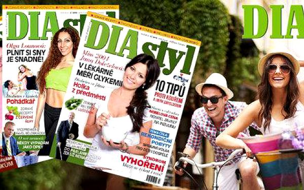 Časopis DIAstyl na rok, měřič cukru a kniha s DVD