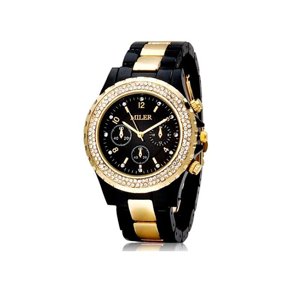 Dámské hodinky MILER s čirými kamínky - černo-zlatá barva