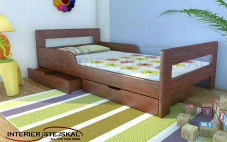 Dětská postel VERONA z borovicového masivu. Vyrobeno v ČR.