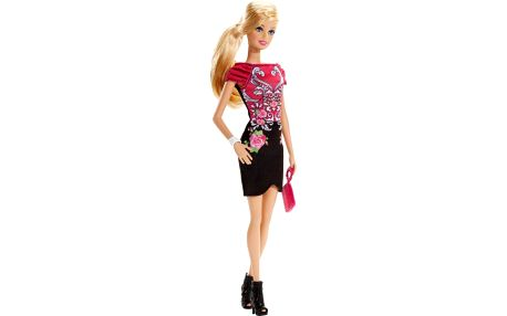 Panenka Barbie Modelka černo-růžové šaty