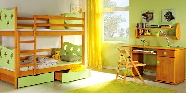 Dětský pokoj JUREK - bez matrace (DO2472) olše/ zelená