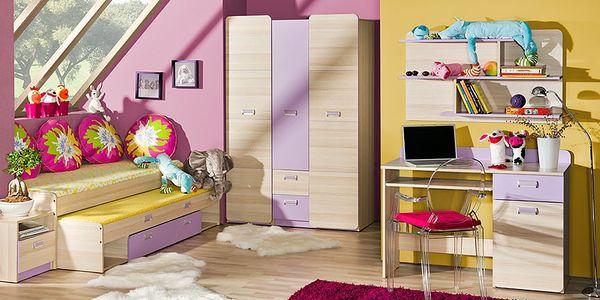 Dětský pokoj RENATO 3 jasan coimbra - fialová