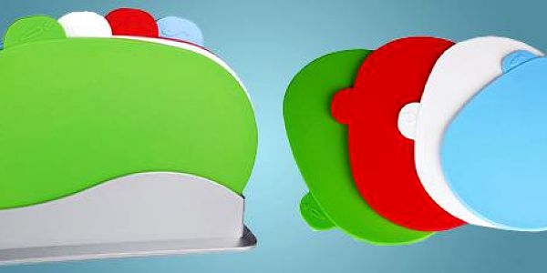 Chytrá prkýnka: 4dílná designová sada prkýnek ve stojánku.