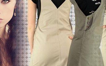 Šatová sukně s laclem z prvotřídního denimu. Sukně má 3 kapsy, dvě na bocích a jednu na laclu.