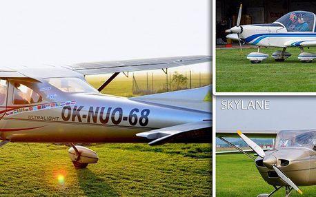 Pilotem letadla - více než vyhlídkový let! Let 30 min.s instruktáží. Na výběr ze čtyř letadel!!