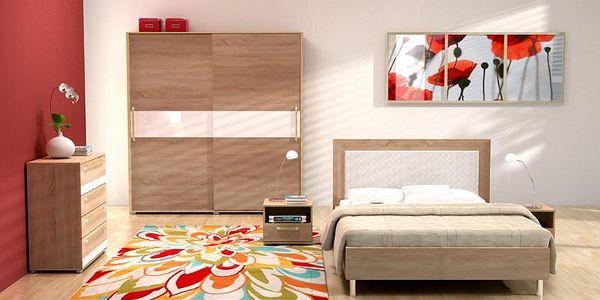 Ložnice EMY A sonoma/ sklo cappucino