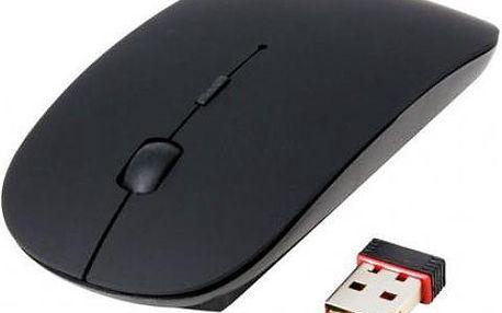 Ultratenká bezdrátová optická myš - černá barva