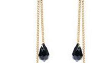 Visací náušnice s motýlkem a černými korálky