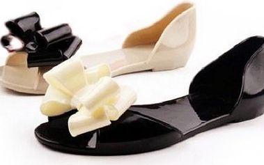 Dámské sandálky s mašlí v kombinaci elegantní černé a béžové!