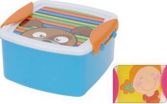 Svačinový box dětský s klip víčkem, 14 x 14 cm, dívka ProGarden KO-983328girl