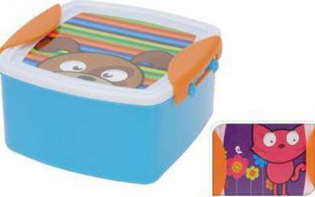 Svačinový box dětský s klip víčkem, 14 x 14 cm, kočka ProGarden KO-983328cat