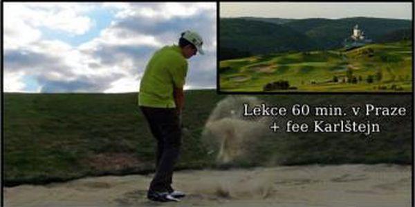 60 min. golfový drill v Praze + zasloužená odměna v podobě luxusního fee 18 jamek na Karlštejn jako dárek - 2 varianty