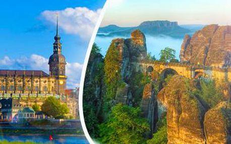 Česko-Saské Švýcarsko: návštěva skalního města Bastei a podvečer v Drážďanech.