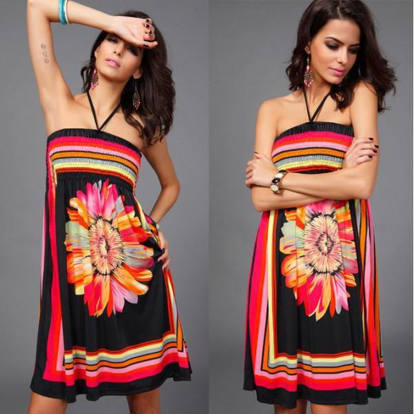 Letní šaty za krk Big flower!