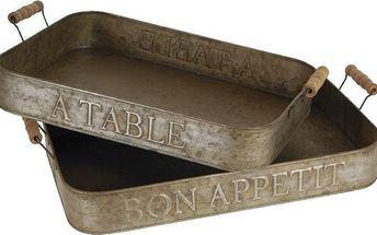 Set zinkových táců Bon Apetit (2 ks)