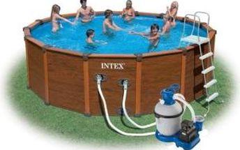 Bazén Intex Wood Frame Set 4,78x1,24 m, písková filtrace