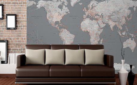 Tapeta Stříbrná mapa 315x232 cm