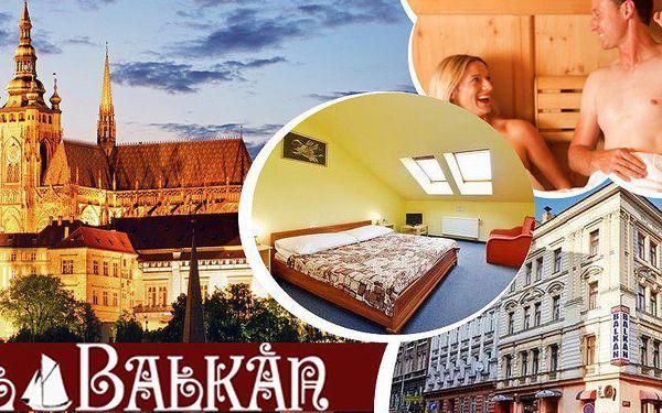 3 denní pobyt pro 2 osoby se snídaněmi, večeří, lahví vína a saunou v hotelu Balkán v Praze.