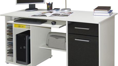 PC stůl LUBOR, bílá/černá