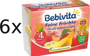 Příkrm Bebivita 100% ovoce Jablka s broskvemi a banány - 6x(4x100g)