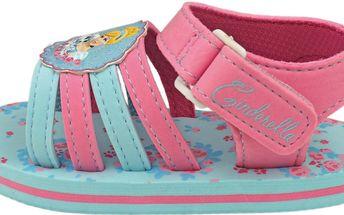 Dívčí páskové sandály s Princeznou - růžovo-modré