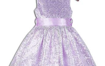 Dívčí společenské šaty PRINCESS - fialovo - bílé