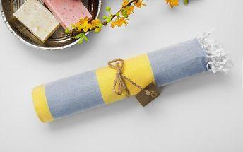 Hamam osuška Myra Grey Light Yellow, 100x180 cm