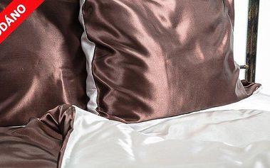 5dílné povlečení Giovanelli satén Čokoládově hnědá/zlatá latté