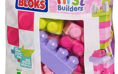 Mega kostky v plastovém pytli růžová, 60 dílů