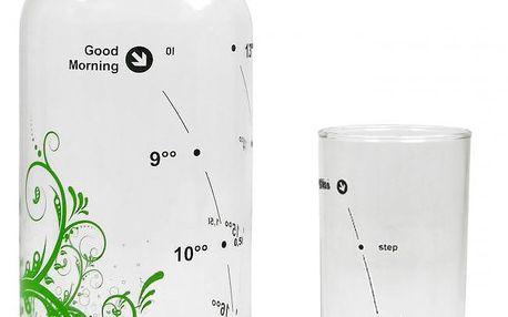 Set karafa Floral Green + sklenice