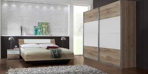 Dora - komplet, postel 180cm (dub, alpská bílá)