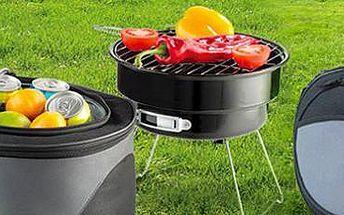 Přenosný gril na piknik s úložným prostorem na studené nápoje.