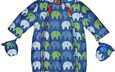 Modrá zimní kombinézka sloníci