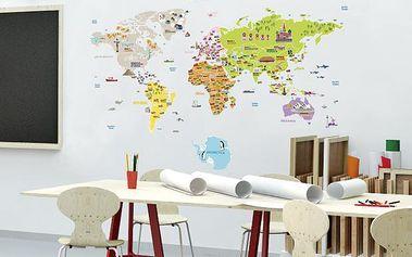 Dekorační samolepky - velká mapa světa