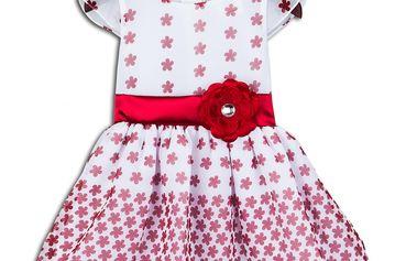 Dívčí společenké šaty ELAINE - červeno-bílé