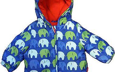 Modrá zimní bunda se sloníky