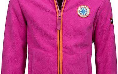 Dívčí růžová fleece bunda s oranžovým lemem