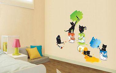 Dekorační samolepky - Kočky malířky