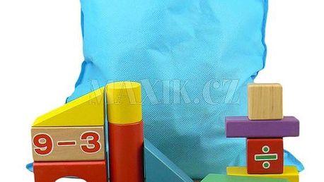 KidsHome Dřevěné kostky v sáčku 92 ks