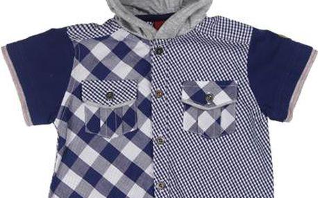 Chlapecká košile s kapucí - modrá