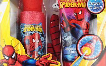 Dárková sada SPIDERMAN Mycí žinka + vodní stříkačka + 4x terč + sprchový gel 150 ml