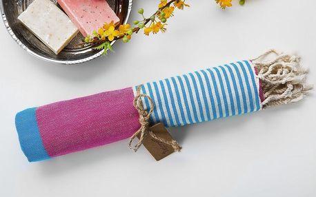 Hamam osuška Amerikan Pink Blue, 100x180 cm