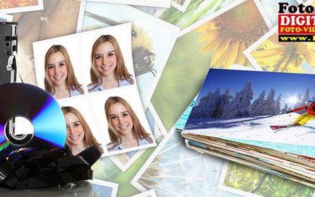 Vyvolání 100 fotografií, průkazové foto