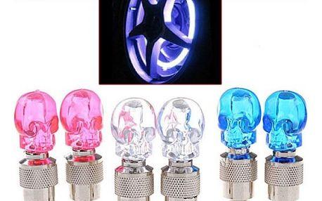 LED svítící čepička na ventilek - lebka
