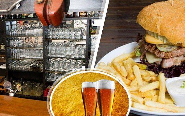 Burgerové menu pro dva v restauraci Riders pub. 2x 200g burger, hranolky a vynikající pivo!!