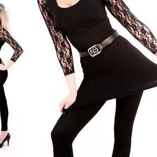 Stylové legíny se sukní v černé barvě s efektem prodloužených nohou