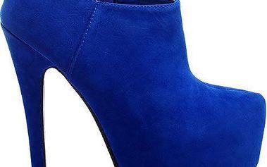 Modré kotníčkové boty na jehlách V2BLSUPU