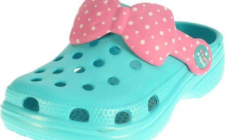 Dívčí pantofle s mašličkou - tyrkysové