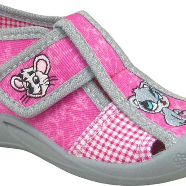 Dívčí kotníčkové boty s myškou a kočičkou - růžové